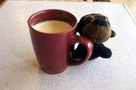 Monkey with coffee
